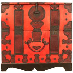Unusually Colored Blanket Chest with Original Pigment and Fittings  Korea  19th century  Wood, Iron  34.5″ wide x 16.25″ deep x 34.5″ high