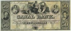 Canal Bank, New Orleans, $50 note with the central vignette, Casilear design, Schoff engraving, 1840s.