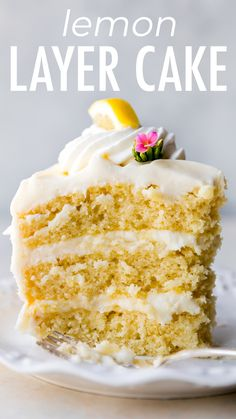 This 3 layer lemon layer cake is made completely from scratch with real lemons. It's deliciously moist and light and is remarkable paired with tangy cream cheese buttercream. Recipe on sallysbakingaddic… – cakerecipes. Lemon Desserts, Lemon Recipes, Köstliche Desserts, Delicious Desserts, Eggless Recipes, Fish Recipes, Yummy Food, Cake Recipes From Scratch, Easy Cake Recipes