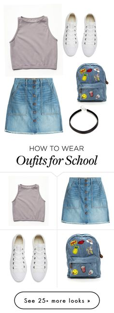 """""""School"""" by jennabearvb on Polyvore featuring Current/Elliott, Free People and Converse"""
