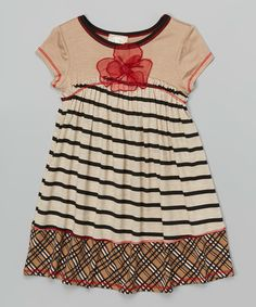 Another great find on #zulily! Taupe Stripe Floral-Embellished Dress - Toddler & Girls #zulilyfinds