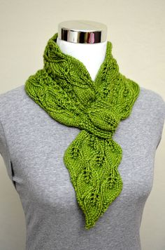 Knitting Pattern for neckwarmer scarf with Leaf motif lace and keyhole loop so it always stays on. On Etsy (affiliate link)