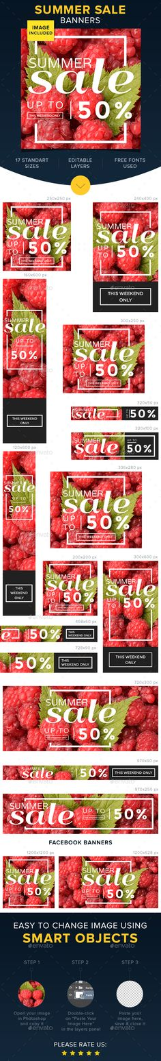 Summer Sale Banners Design Template - Banners & Ads Web Template PSD. Download here: https://graphicriver.net/item/summer-sale-banners/17016731?s_rank=12&ref=yinkira