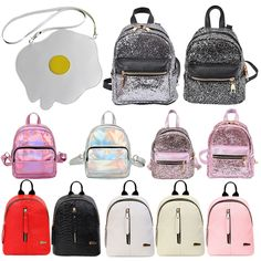 Women Girls Fashion Laser PU Leather Mini Backpack Casual Travel School Backpack #Unbranded