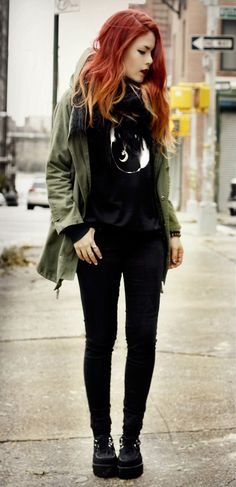 Sweatshirt with green parka &, Black skinny jeans, Scarf & creepers shoes