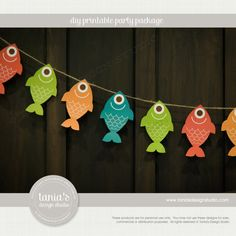 Gone Fishing Fish Banner Fish on a Line Instant Download