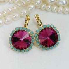 Pink Turquoise Crystal Earrings Fuchsia Aqua Gold Drop Earring Swarovski Crystal Turquoise Pink Earrings 14mm Aqua Halo,Gold,Fuchsia,GE110