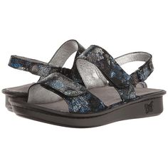 Alegria Verona (Quarry Crackle) Women's Sandals (£81) ❤ liked on Polyvore featuring shoes, sandals, cork sandals, shiny shoes, platform sandals, cork shoes and arch support sandals