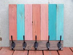 Reclaimed Wood Stripe Coat Rack by Rustic Wood Originals on Etsy, $145.00