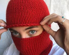 Knitted Balaclava, Knitted Hats, Full Face Mask, Pink Hat, Neck Warmer, Baby Hats, Hand Knitting, Knitting Machine, Pixie