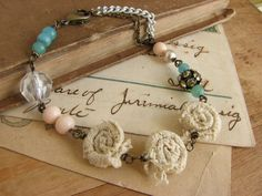 Pastel Assemblage Bracelet shabby chic lace rose by whybecause, $23.00