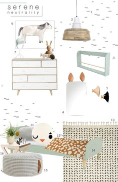 A fun neutral kids room mood board to inspire any interior space.