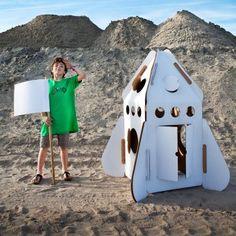 Stabile Papp-Rakete für Kinder zum Selbstbemalen #design3000 #studioroof