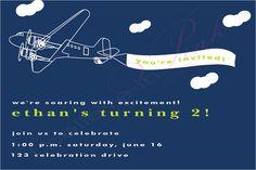 Boys Vintage Airplane First Birthday Invitation - Printable digital design. $10.00, via Etsy.