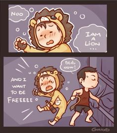 Hollywood Undead ❤️chibis Danny in a lion onsie, and jdog trying to get him to bed