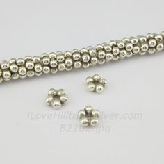 Set of 10-Thai Karen Hill Tribe Silver Spacer Beads Oxidized Flower Thick Plain Spacer Beads Sell By Set-B2102