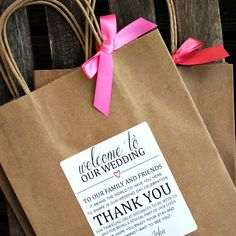 """Personalized """"Welcome to Our Wedding - Thank You"""" Wedding Welcome Bag by BeforeTheIDos on Etsy https://www.etsy.com/listing/203043763/personalized-welcome-to-our-wedding"""