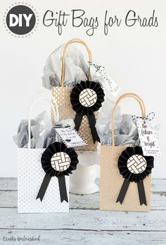 Give your gift in style with these pretty, handmade DIY graduation gift bags! We even include free printable tags - check them out!