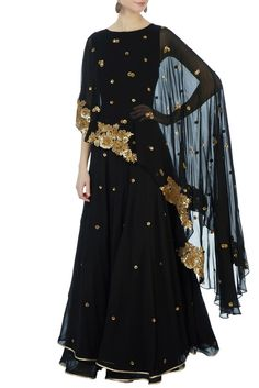 Black georgette poncho anarkali