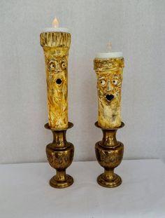Handmade clay candlestick tealight holders custom tealight holder