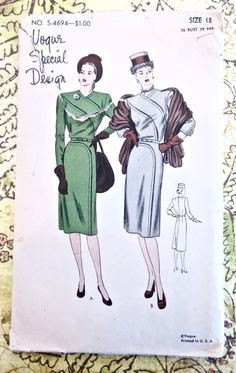 Vogue S-4694 - Vintage 1940s One-Piece Dress with Dramatic Sectional Seaming by Fragolina on Etsy
