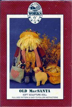 "Old MacSanta Soft Sculpture Doll Pattern Alma Lynnes Works of Heart 20"" #AlmaLynnesWorksofHeart"