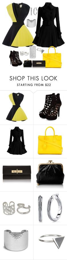 """""""Yellow & Black"""" by valecontarino on Polyvore featuring FAUSTO PUGLISI, Yves Saint Laurent, Kurt Geiger, HOBO, NOVICA, Chico's and Ichu"""