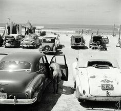 vintage cars on the beach