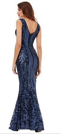 New 2017 trending style by Bridal and Ball. Navy sequins and mesh soft mermaid. Low V neckline and back Affordable Wedding Dresses, Formal Gowns, Wedding Designs, Wedding Gowns, Ball Gowns, Evening Dresses, Mermaid, Mesh, Sequins