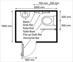 Wheelchair Access Penang (wapenang): Toilet (WC) For Disabled People Handicap Toilet, Handicap Bathroom, Washroom, Wc Design, Toilet Design, Interior Design, Ada Bathroom, Bathroom Layout, Bathroom Ideas
