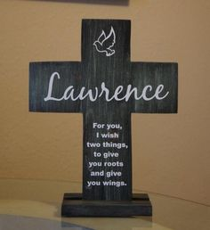 Cross with stand Set Solid Wood Personalized Name with Dove and Roots and wings  #Collectible