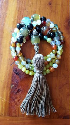 ABUNDANCE LUCK 108 Bead Mala 108 Mala Beads Prayer Beads Multicolor Agate Green Jade Necklace Gray Tassel Necklace Yoga Colorful Chakra Mala by AriaHealing on Etsy #yogajewelry #108beadsmala #mala #healingstones