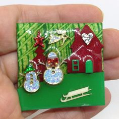 Vintage Signed HOUSE PINS by LUCINDA - SNOWMAN ANGEL BROOCH PIN Plastic Jewelry #Lucinda