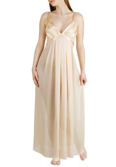$65 Love Ballad Lullaby Nightgown - Solid, Lace, Pinup, Vintage Inspired, 30s, 40s, 50s, Luxe, Spaghetti Straps, Long, Cream, V Neck