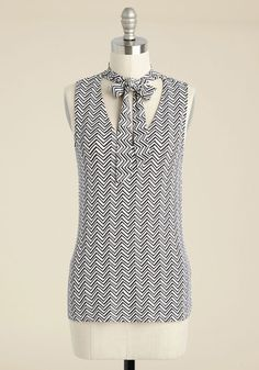 Bold-Faced Tie Tank Top in Chevron, @ModCloth