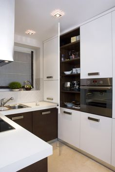 white brown u shaped kitchen