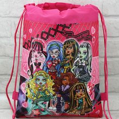 2015 monster high backpack gmy school non-woven string shoe bag for boys and girls kids birthday gifts all match
