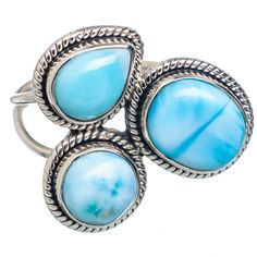 Caribbean Larimar Silver Ring By Jewels Jaipur
