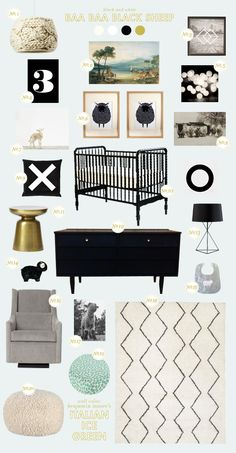 Black and white nursery -with a pop of color added!