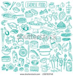 Big Set Of Various Doodles, Hand Drawn Rough Simple Chinese Cuisine Food Sketches. Ilustración vectorial en stock 236783749 : Shutterstock