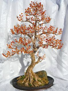 Autumn Bonsai Tree Handmade Home Decor Wire Beaded Sculpture (custom order) Bonsai Wire, Wire Tree Sculpture, Wire Trees, Miniature Trees, Metal Tree, Wire Crafts, Beads And Wire, Wire Art, Handmade Home Decor