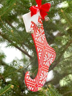 Wooden Stocking Ornament for the Christmas Tree