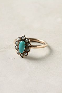 Vintage Turquoise & Pearl Ring (1950s)
