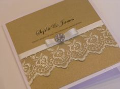 Luxury Handmade Wedding Invitation Lace x 1 by BeckybyDesign, £3.95