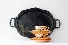 Vintage Meito Orange Lusterware Teacups, Saucers and Plates - Set of Two, Black Floral, White, Spring Green, Orange, Tea Party Decor