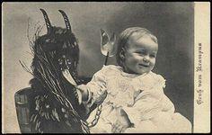 Krampus christmas demon which became santa's (satan's) little helpers later--elves