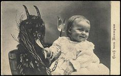 Krampus christmas demon which became santa's (satan's) little helpers later--elves
