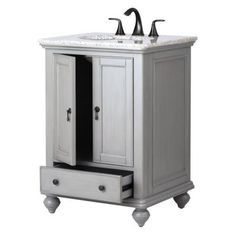 Home Decorators Collection Newport 25 in. W x 21.5 in. D Single Vanity in Pewter with Granite Vanity Top in Grey with White Basin-1972700290 - The Home Depot
