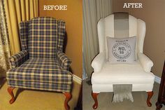 Before and After Painted Chair - How to Paint Upholstered Furniture