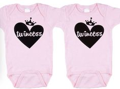 Twincess on Pink twin onesies, twin girl onesies, twin bodysuits by BebeBottleSling on Etsy Twin Baby Girls, Twin Babies, Cute Babies, Baby Kids, Dr Kids, Twin Outfits, Newborn Outfits, How To Have Twins, Baby Wearing